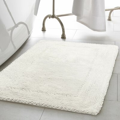 2 Piece Ruffle Cotton Bath Rug Set Color: White
