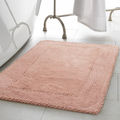2 Piece Ruffle Cotton Bath Rug Set Color: Blush