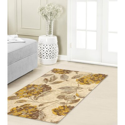 Hydrangea Jacquard Chenille Yellow/Gray Area Rug Rug Size: 23 x 39