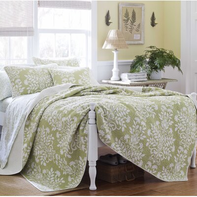 Rowland 100% Cotton Coverlet Set Size: Twin, Color: Sage