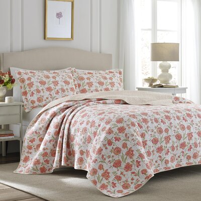 Cadence Apricot Cotton Reversible Quilt Set by Laura Ashley Home Size: King