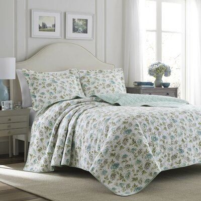 Edwina Cotton Reversible Quilt Set Size: Full/Queen