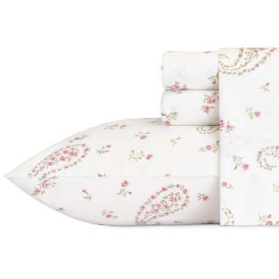 Bristol Paisley 4 Piece 300 Thread Count Cotton Sateen Sheet Set Size: Queen