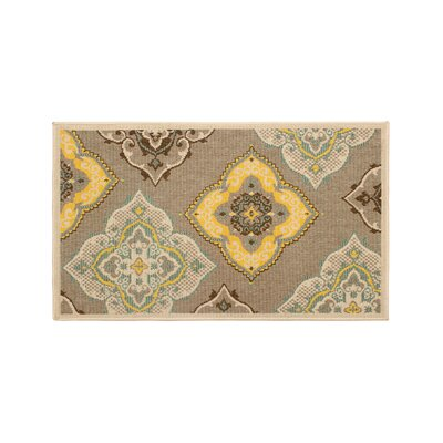 Jaya Allie Taupe/Yellow Indoor/Outdoor Area Rug Rug Size: 23 x 39