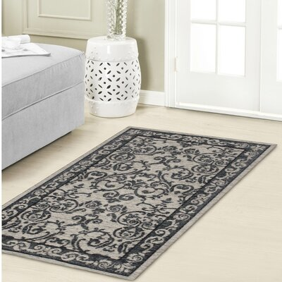Halstead Jacquard Chenille Gray Area Rug Rug Size: 2 x 211