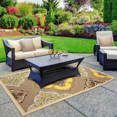 Jaya Allie Taupe/Yellow Indoor/Outdoor Area Rug Rug Size: 4 x 6