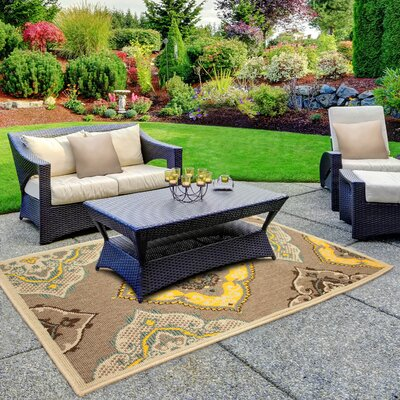 Jaya Allie Taupe/Yellow Indoor/Outdoor Area Rug Rug Size: 5 x 8