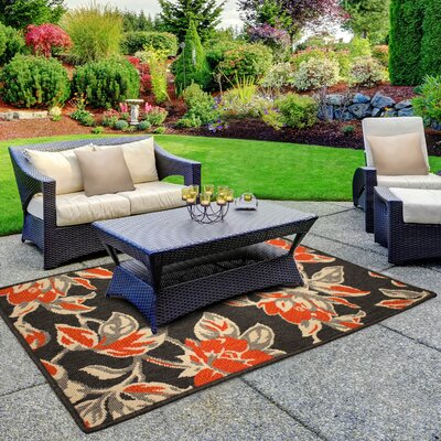 Jaya Carlisle Orange Indoor/Outdoor Area Rug Rug Size: 23 x 39
