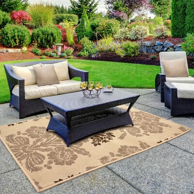 Jaya Tatton Taupe/Beige Indoor/Outdoor Area Rug Rug Size: 23 x 39