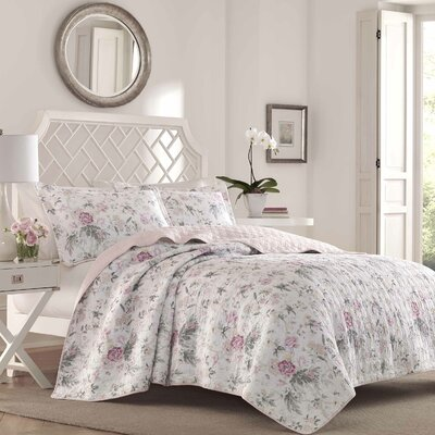 Breezy Floral 100% Cotton Reversible Quilt Set Size: Full/Queen