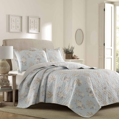 Seaside 100% Cotton Reversible Quilt Set Size: Full/Queen