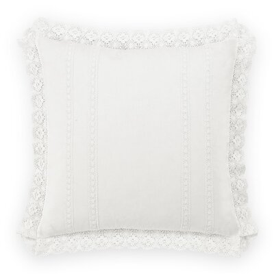 Crochet 100% Cotton Pillow Cover by Laura Ashley Home Color: White