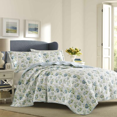 Peony Garden 100% Cotton Reversible Quilt Set Size: Twin