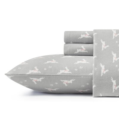 Bunny Hop Flannel Sheet Set by Laura Ashley Home Size: Twin