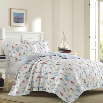 Ahoy 100% Cotton Reversible Quilt Set By Laura Ashley Home Size: Full/Queen