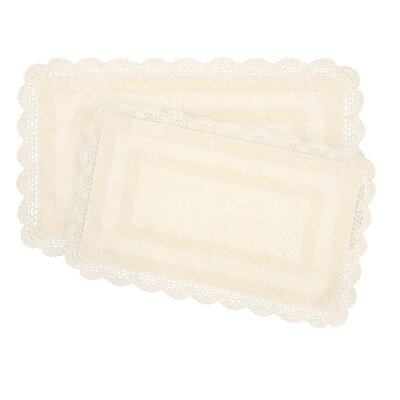 2-Piece Bath Rug Set by Laura Ashley Home Color: Ivory