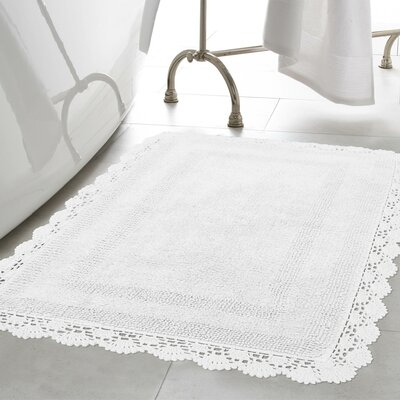 Crochet 100% Cotton Bath Rug Size: 15 x 2, Color: White