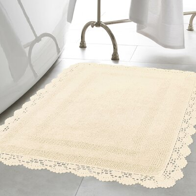 Crochet 100% Cotton Bath Rug Size: 15 x 2, Color: Ivory