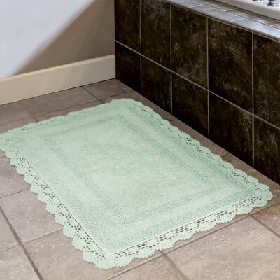 Crochet 100% Cotton Bath Rug Size: 19 x 210, Color: Aqua