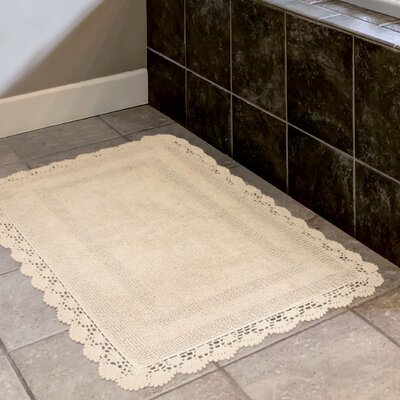 Crochet 100% Cotton Bath Rug Size: 15 x 2, Color: Linen