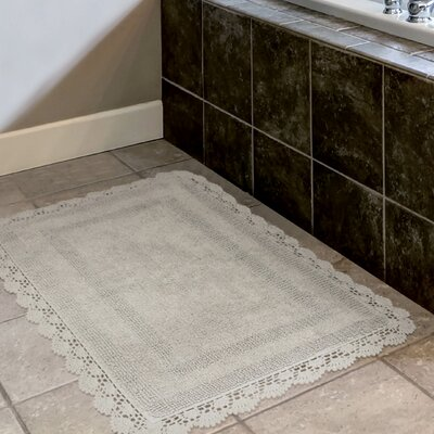 Crochet 100% Cotton Bath Rug Color: Light Gray, Size: 19 x 210