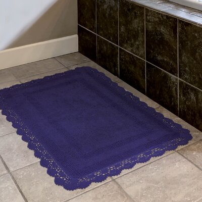 Crochet 100% Cotton Bath Rug Size: 15 x 2, Color: Indigo