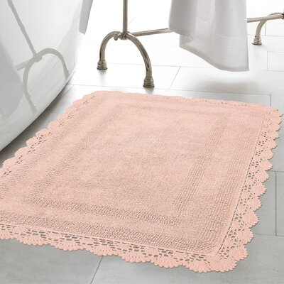 Crochet 100% Cotton Bath Rug Color: Blush, Size: 19 x 210