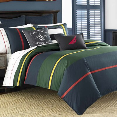 Heritage Classic Stripe 100% Cotton Comforter Set Size: King