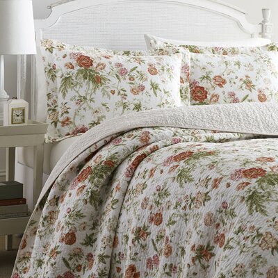 Breezy Reversible Quilt Set by Laura Ashley Home Size: King, Color: Coral Pink