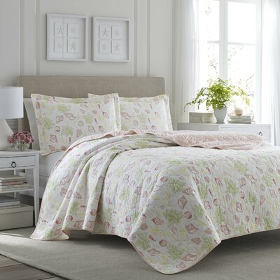 Harmony Coast Reversible Quilt Set by Laura Ashley Home Size: Full/Queen
