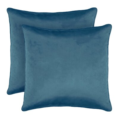Lucas Solid Shiny Velvet Throw Pillow Color: Blue