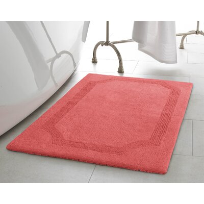 2 Piece Reversible Cotton Bath Rug Set Color: Coral