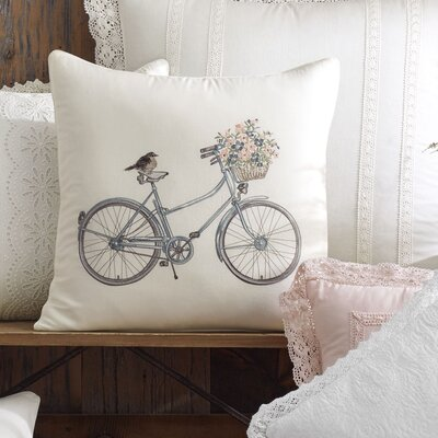 Bicycle 100% Cotton Throw Pillow by Laura Ashley Home