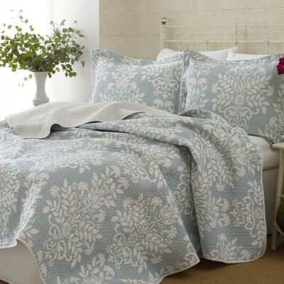 Rowland 100% Cotton Coverlet Set Size: Twin, Color: Breeze