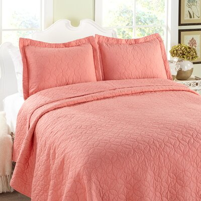 Solid Cotton Reversible Quilt Set Size: Full / Queen, Color: Coral