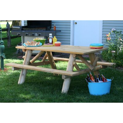 Picnic Table with Attached Bench