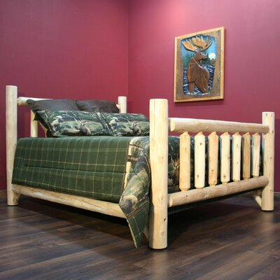 Timber Log Panel Bed Finish: Clear, Size: Double