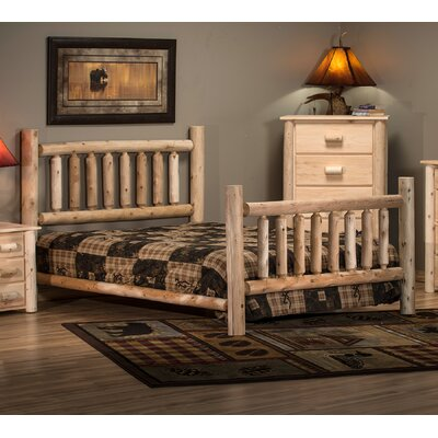 Timber Log Panel Bed Size: Double, Color: Unfinished