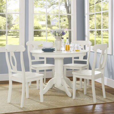 Aubrey 5-Piece Traditional Height Pedestal Dining Set