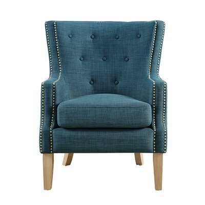 Holstein Wingback Chair Upholstery: Blue