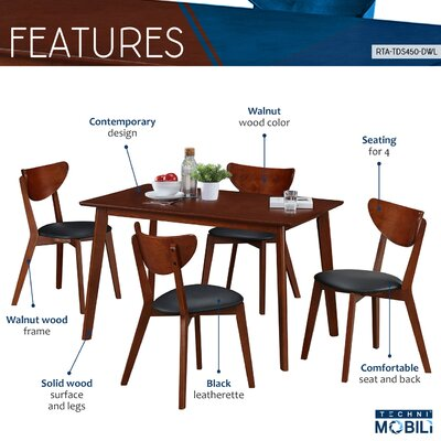 Bulgera Modern Wood 5 Piece Dining Set