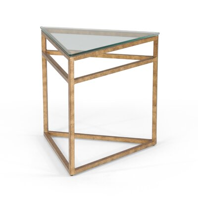 Hudak Triangular End Table Finish: Gold