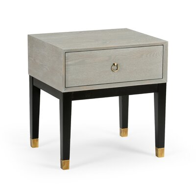 Albany End Table with Storage Table Base Color: Black, Table Top Color: Natural Gray