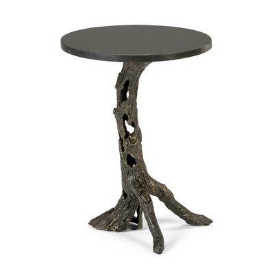 Woody End Table Table Base Color: Bronze, Table Top Color: Black Marble