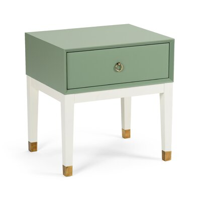 Albany End Table with Storage Table Base Color: Off White, Table Top Color: Green