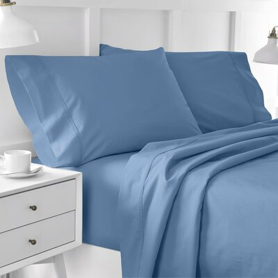 300 Thread Count Solid Pillowcase Size: Standard, Color: Medium Blue