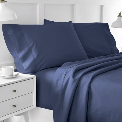 300 Thread Count Solid Pillowcase Size: King, Color: Dark Denim