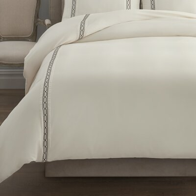 Signature Link Embroidered Duvet Cover Size: Full/Queen, Color: Chocolate/vory