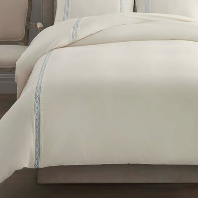 Signature Link Embroidered Duvet Cover Size: Twin, Color: Abyss/Ivory