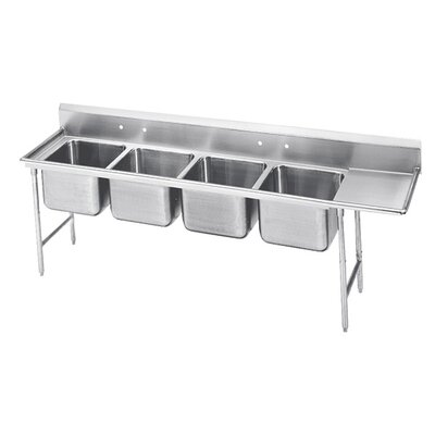 900 Series Seamless Bowl 4 Compartment Scullery Sink Width: 129